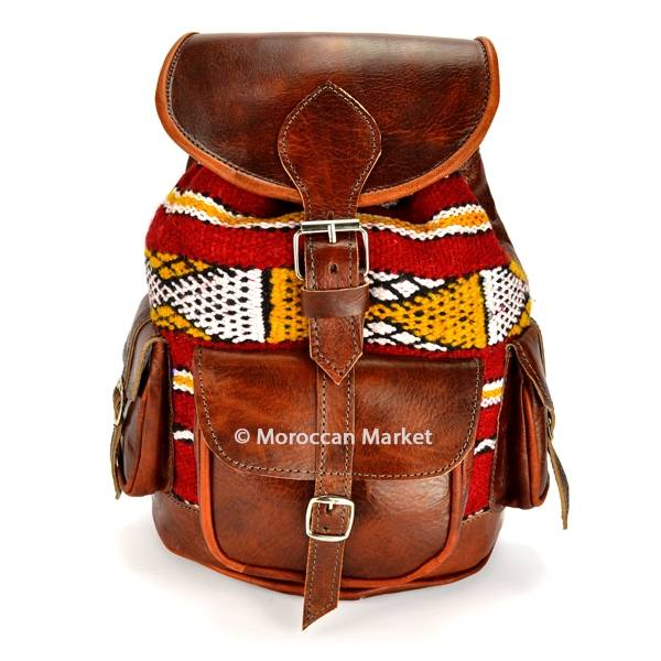 Light Brown Moroccan Kilim Leather Backpack Kilim Leather Unisex Bag Kilim Backpack Red Kilim Leather Backpack Kilim Leather Book Bag