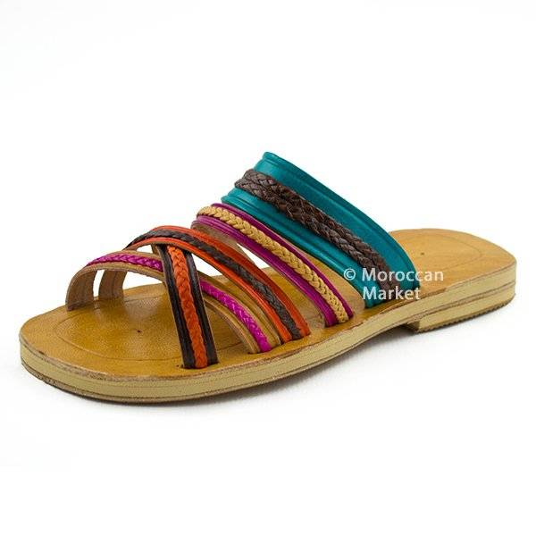 handmade leather sandals with a colorful touch. Black Bedroom Furniture Sets. Home Design Ideas