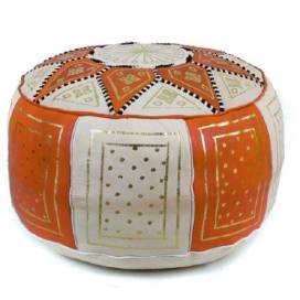 Traditional pouf in orange