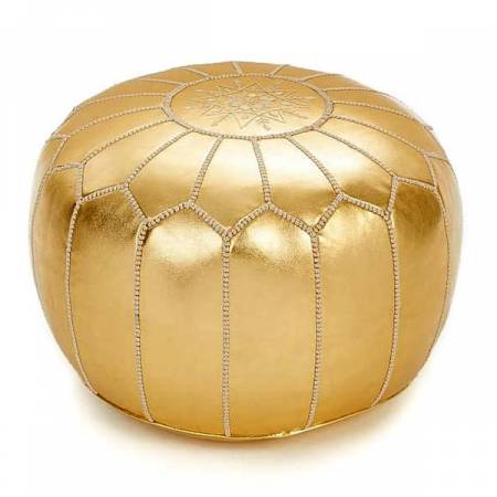 Moroccan Pouf in Mettalic Gold