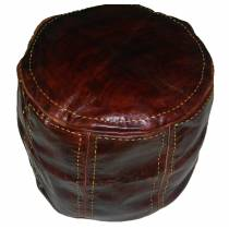 Moroccan leather pouf chocolate leather