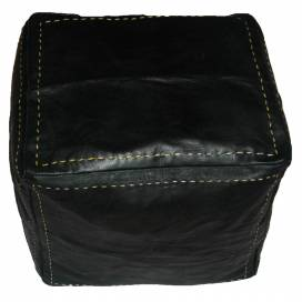 Moroccan cubic leather pouf