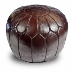 Moroccan design pouf chocolate leather