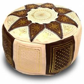 Moroccan traditional ottoman in brown