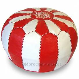 Moroccan Pouf red and white
